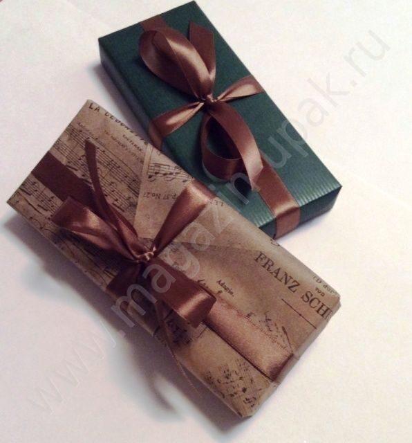 Бумага подарочная Ноты зеленая атласные ленты