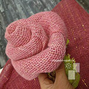 Как сделать розу из ленты ткани мешковины