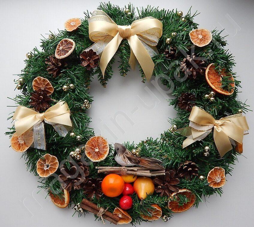Новогодний рождественский венок Золотые банты