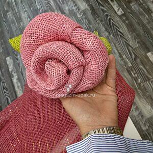 Розовая декоративная мешковина натуральная